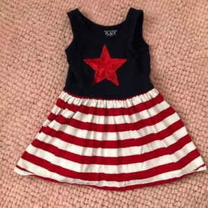 USA themed dress , sequined red star